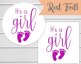 It's A Girl Stickers, Color or Gold Foil Baby Shower Stickers, Birth Announcements (#372-G-F)