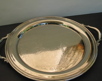 Elegant Vintage Chrome Platted Serving Tray With Silver Metal Handles And  Etched Swirl Designs