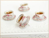 4 Pushpin Thumbtack Push Pins Pin, Handmade 3D Teacup Tea Cup Miniture Food, Cute, Kawaii, Memo Notice Cork Board, Kitchen Cooking Home Gift