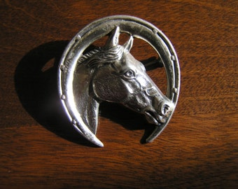Sterling Silver Horse Head Pin,Sterling Silver Horse Head in Horse Shoe Pin,Vintage Sterling Horse Pin, Silver Horse Head Horse Shoe Pin