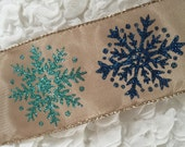"5 YARDS Snowflake Ribbon Blue Glitter Snowflakes on Satin Ribbon Holiday Ribbon 2.5"" Wide Ribbon Gift Wrapping Bows Christmas Ribbon"
