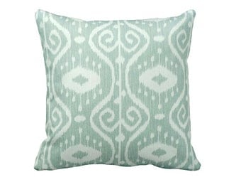 One 24x24 Euro Pillow Cover Throw Pillow Decorative Pillow Aqua Pillow Sea Foam Green Pillow Green Pillow Ikat Pillow