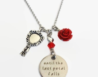 """Beauty and the Beast necklace """"until the last petal falls"""" - Beauty and the beast jewelry - Love necklace"""
