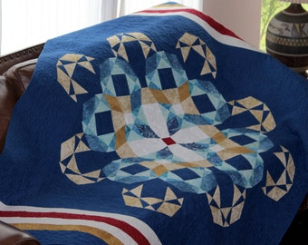 Storm at Sea Quilt Pattern - Hearts / Waves/ Navy / Marine - Sailor's Delight - bunk size: 61 in. by 85 in.