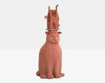 judith inglese terracota sculpture 'hat on the cat', judith inglese sculpture, contemporary sculpture, modern sculpture, terracota art,