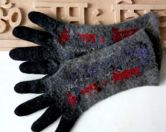Yoga Arm warmers Shiva mantra Grey Winter gloves Yogawear Men gloves Wool felted gloves with fingers Spiritual Om Namah Shivaya Yoga gifts