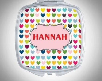 Personalized Compact Mirror -  Cute Hearts - Personalized Bridesmaid Gift - Wedding Favor - Custom Gift, Personalized Gift - Gift for Her