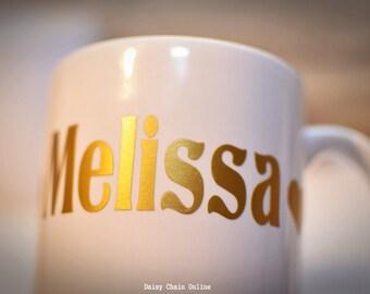Personalized Name Coffee Mug - Golden or Silver Vinyl Coffee Mug - Custom Mug - Made to Order - Typographic Mug - Gift for Him, Gift for Her