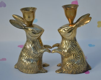 Vintage Brass Easter Bunny Candlestick Pair Metal Rabbits Kitsch Easter Home Decor Display Unique Vintage Animal Lovers Gift!