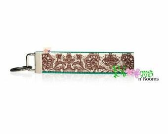 Floral lace look wrist key chain key fob wristlet
