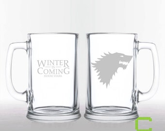 Game of Thrones - House Stark - Etched Beer Mug
