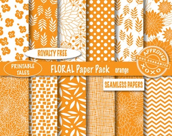50% OFF SALE Scrapbook Pages Floral Hand Drawn Flowers Paper Pack Chevron Digital Papers Polka Dots Unlimited Commercial Use Seamless Papers