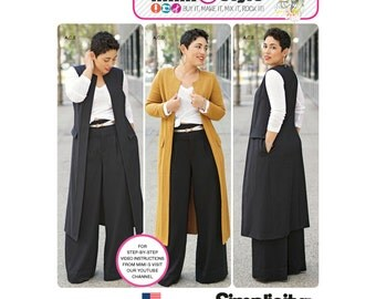 Simplicity Pattern 8177 Misses' and Plus Size Pants, Unlined Jacket or Vest, and Knit top from Mimi G Style