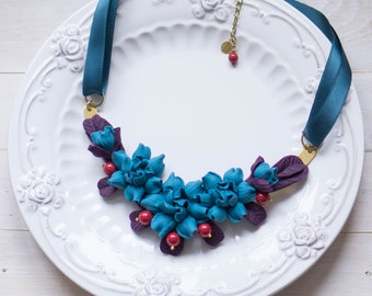 Blue Flower Statement Necklace. Purple Necklace with Blue Flowers. Bib Necklace.