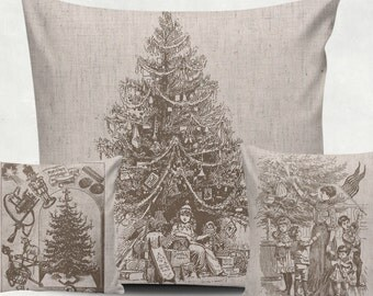 3 Digital Vintage Christmas Tree for Tea Towels, black and sepia, Transfer, christmas clip art, burlap, Instant Download, poster, N49