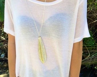Silver leaf pendant boho chain necklace