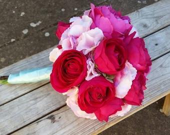 Wedding Bouquet Hot Pink with Silk Peony, Ranunculus and Hydrangea