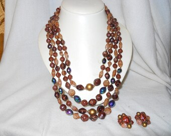 Vintage multi strand beaded necklace and earrings