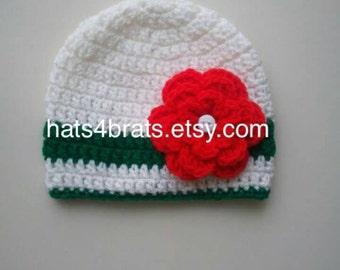 Christmas Hat, Baby Girl Christmas Hat, Christmas Hat, Christmas Photo Prop, Newborn Christmas Hat, Infant Christmas Hat, Newborn Photo Prop