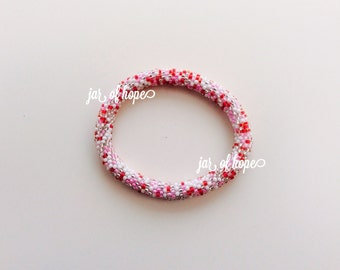 Nepal Handmade Beaded Roll On Bracelet Gift Birthday White Silver Red Pink Sprinkle