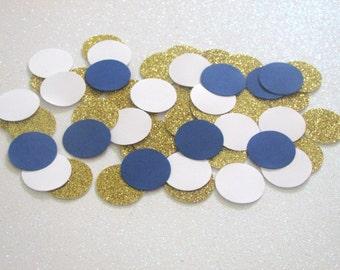 225 Navy Blue White Gold Confetti Nautical Confetti Navy Gold Party Nautical Wedding Confetti Nautical Shower Boy First Birthday Confetti