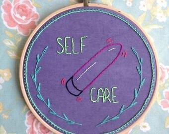 Self Care - Vibrator - Embroidery - Wall hanging - Hoop Art
