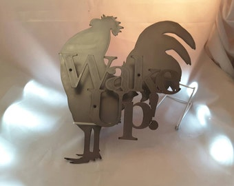 CH09 Metal Rooster Wake up sign