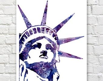 Statue of Liberty- Art Print - Abstract Watercolor Painting - Wall Decor