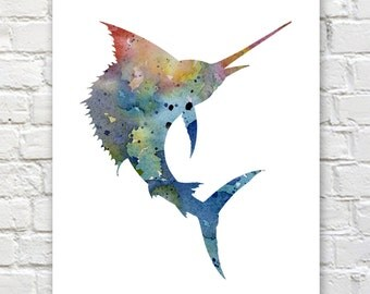 Blue Sail Fish Print - Abstract Watercolor Painting - Wall Decor
