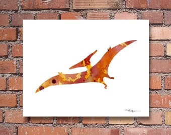 Pterodactyl Art Print - Abstract Watercolor Painting - Dinosaur Wall Decor