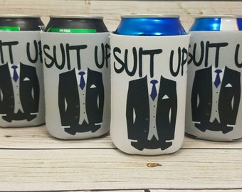 suit up groomsman suit it up can coolers / custom wedding party gifts / groomsmen gifts / usher gifts / best man gifts