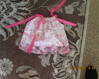 Baby Girl's homemade pillow case dress, Pink,size 12 to 18 mo.