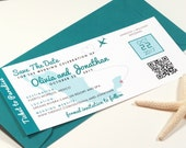 Destination Wedding Save The Date Boarding Pass Printed Passes and Envelopes OR Printable File