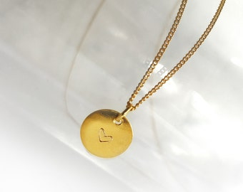 Dainty Heart Necklace, Gold Plated Sterling Silver Necklace, Hand Stamped Heart Pendant, Gold Plated Charm Necklace, Coin Necklace, Atigga