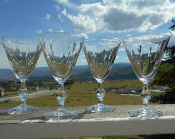 """Tiffin-Franciscan 'Theme' Lead Crystal Water Goblets, 4"""" Diameter x 6-3/4"""" Tall, Set of 4"""