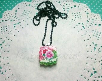 Pendant Cabochon resin/Japanese flowers