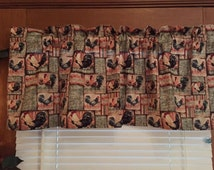 "Country Rooster Scratch Feed  Kitchen Valance ~ 42"" Wide"