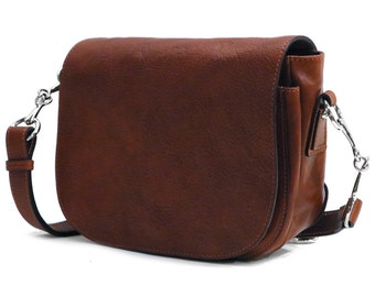 Roma Leather Saddle Bag / Classic Saddle Bag / Crossbody Saddle Bag / Leather Shoulder Bag / Handmade Women's Bag (1208BROWN)