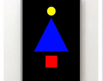 Bauhaus poster,Printable Wall Art,Happy tree,trees Poster, Digital Download Art,line,curves,room,Bauhaus poster, 3 elements