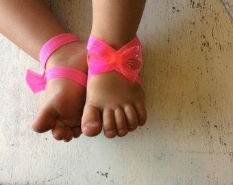 Barefoot sandals; baby barefoot sandals; neon pink bow sandal ; toddler barefoot sandal; sandal