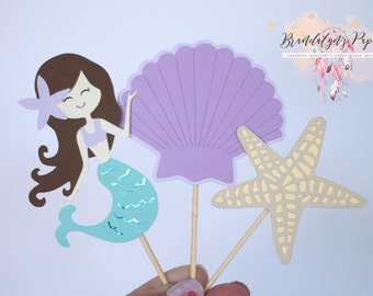 Mermaid cupcake toppers set of 12, starfish shells and mermaid cupcake toppers, under the sea party