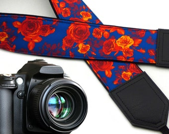 Camera strap Roses. Blue and orange.  Flowers strap. DSLR Camera Strap. SLR camera neck strap. Handmade item by InTePro