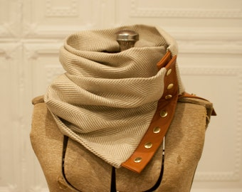 Camel & White Herringbone Wool and Leather Scarf, Snap down