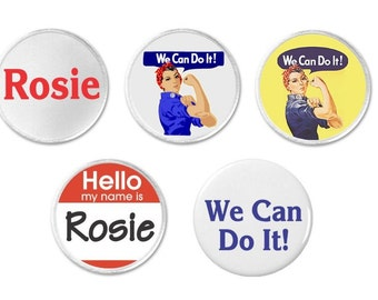 "Rosie the Riveter We Can Do It YOU PICK 1.25"" 2.25"" Pinback Button Pin Magnet Keychain Bottle Opener 3"" Sew On Patch"
