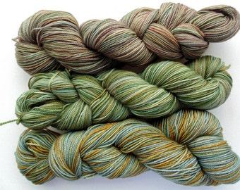 Hand dyed yarn, superwash merino, hand dyed sock yarn, My Three Sons camo sock, 3 skeins 100g 400yds each