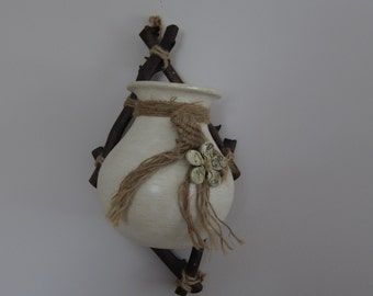 1970s macrame wall vase with cerramic flower and twig frame  from the 1970s or 1980s, like new