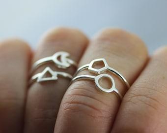 sterling silver midi geometric ring, circle ring, triangle ring, crescent moon ring, hexagon ring, midi ring