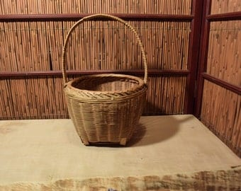 Vintage Chinese Bamboo  Basket with Handle