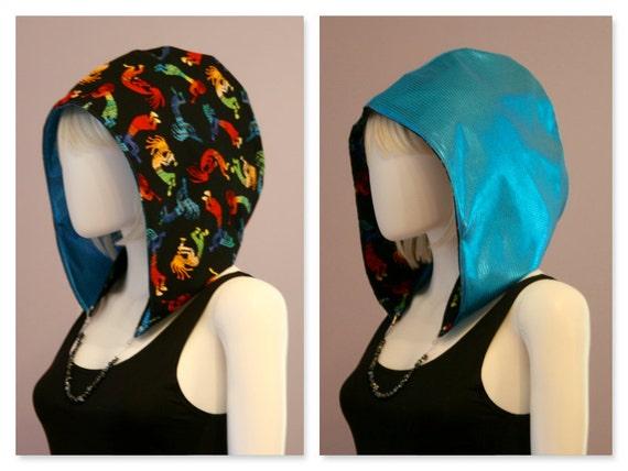 Holographic Crystal Hoods / festival hood / reversible / colorful / geometric / holographic / aztec / kokopelli