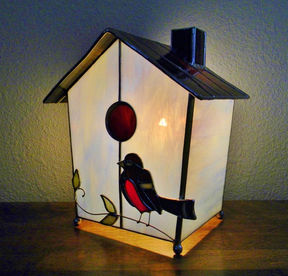 Handmade Stained Glass Birdhouse Lamp - Made to Order